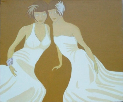 (CreativeWork) Vamps by Jeanne Rudd. arcylic-painting. Shop online at Bluethumb.