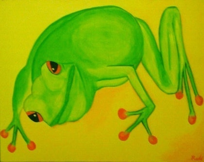 (CreativeWork) Green frog by Jeanne Rudd. arcylic-painting. Shop online at Bluethumb.