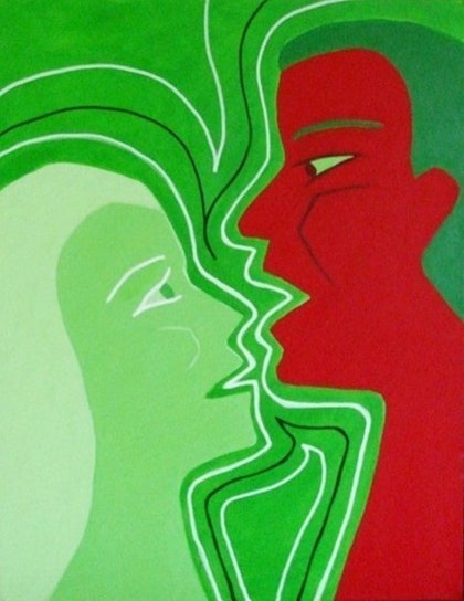 (CreativeWork) Discourse by Jeanne Rudd. arcylic-painting. Shop online at Bluethumb.