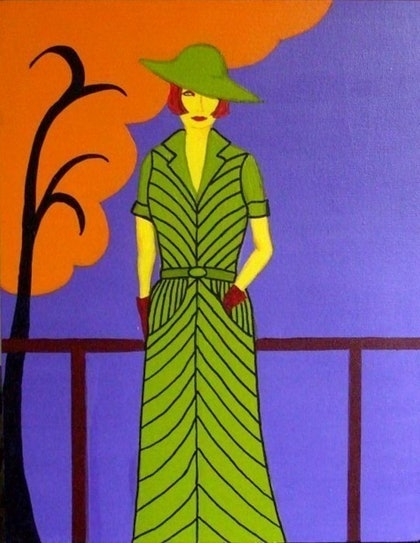 (CreativeWork) Deco Style - Green by Jeanne Rudd. arcylic-painting. Shop online at Bluethumb.