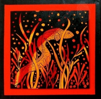 (CreativeWork) Grass Eel by Gillian Napier. arcylic-painting. Shop online at Bluethumb.