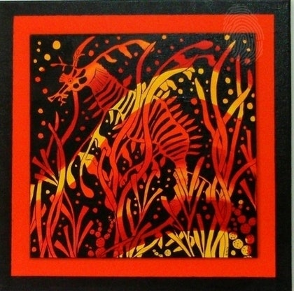 (CreativeWork) Dragon in the grass by Gillian Napier. arcylic-painting. Shop online at Bluethumb.