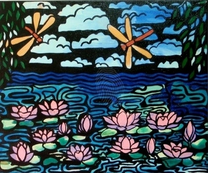 (CreativeWork) Dragonfly Pond by Gillian Napier. arcylic-painting. Shop online at Bluethumb.