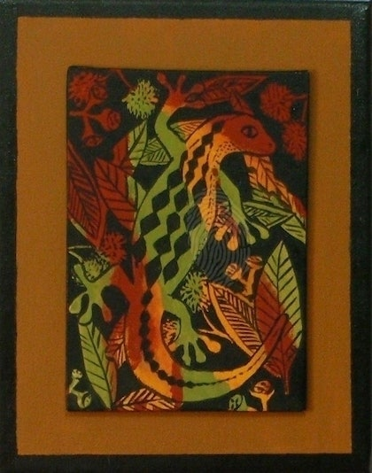 (CreativeWork) Twin lizards by Gillian Napier. arcylic-painting. Shop online at Bluethumb.