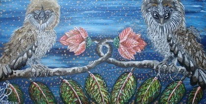 (CreativeWork) the odd couple by maryann nankivell. arcylic-painting. Shop online at Bluethumb.