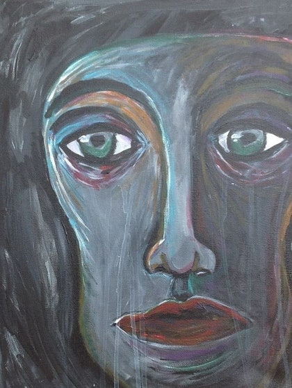 (CreativeWork) Sorrow by Avril Louise Godfrey. arcylic-painting. Shop online at Bluethumb.