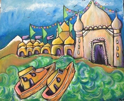 (CreativeWork) Evening on the Ganges by Avril Louise Godfrey. arcylic-painting. Shop online at Bluethumb.