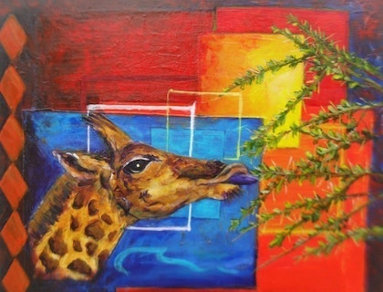 (CreativeWork) Giraffe Grazing in the African Veld by Jennifer Bowers. arcylic-painting. Shop online at Bluethumb.