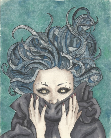 (CreativeWork) Soceress by Nikki Wells. watercolour. Shop online at Bluethumb.