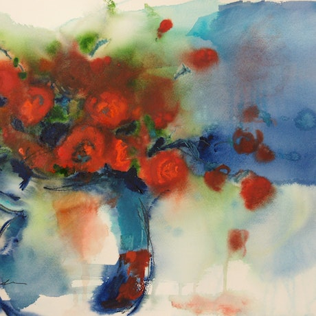 (CreativeWork) Who Are the Roses For? by Jill Bryant. Watercolour Paint. Shop online at Bluethumb.