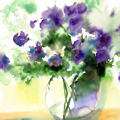 (CreativeWork) Flowers in Water by Jill Bryant. Watercolour Paint. Shop online at Bluethumb.