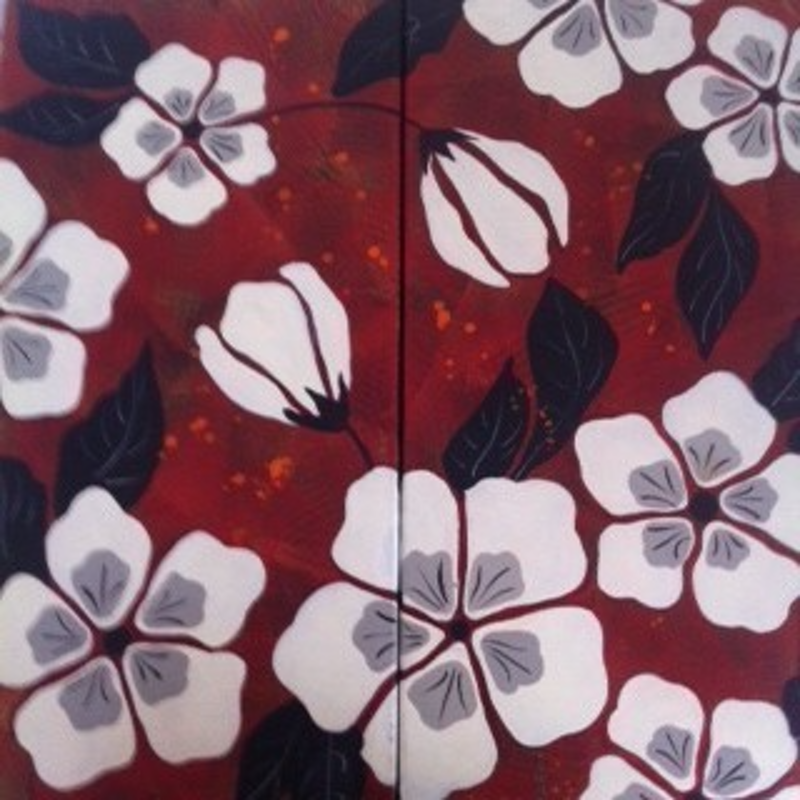 (CreativeWork) Flower Panel by Marianne Ulbrick. arcylic-painting. Shop online at Bluethumb.