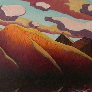 (CreativeWork) Yellow Mountain by Mac Monks. arcylic-painting. Shop online at Bluethumb.