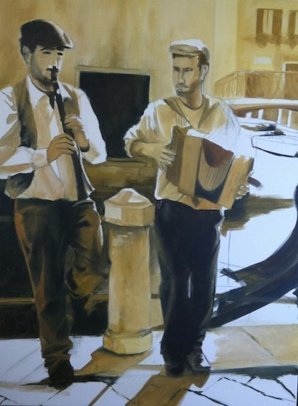 (CreativeWork) Buskers in Venice by Brigitte Dawson. oil-painting. Shop online at Bluethumb.