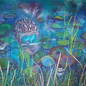(CreativeWork) Pond Palimpsest by Ann Russell. mixed-media. Shop online at Bluethumb.