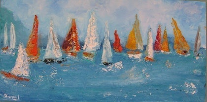 (CreativeWork) race week by DIANA JOHNSON. oil-painting. Shop online at Bluethumb.