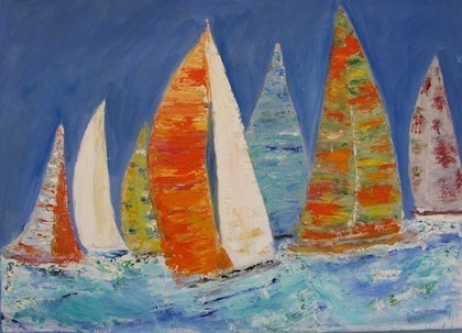 (CreativeWork) out on the bay by DIANA JOHNSON. oil-painting. Shop online at Bluethumb.