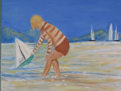 (CreativeWork) the new yacht by DIANA JOHNSON. oil-painting. Shop online at Bluethumb.