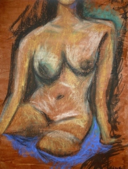 (CreativeWork) Seated Nude by Liz Hall. mixed-media. Shop online at Bluethumb.