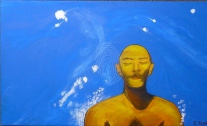 (CreativeWork) After Hockney: Contemplating the Dive by Liz Hall. arcylic-painting. Shop online at Bluethumb.