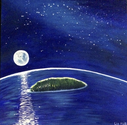 (CreativeWork) The Light of the Moon by Liz Hall. arcylic-painting. Shop online at Bluethumb.