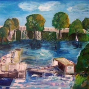(CreativeWork) Iris the Old Ferry by Margaret Goldsmith. arcylic-painting. Shop online at Bluethumb.
