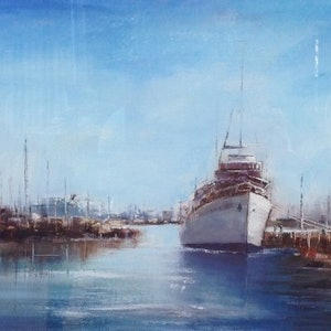 (CreativeWork) Castlemaine at Williamstown by Leianne ivankovic. oil-painting. Shop online at Bluethumb.