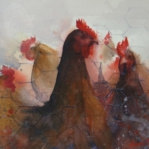 (CreativeWork) Chook Meeting by Leianne ivankovic. watercolour. Shop online at Bluethumb.