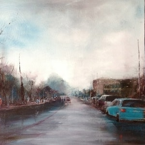 (CreativeWork) Rainy Day by Leianne ivankovic. oil-painting. Shop online at Bluethumb.