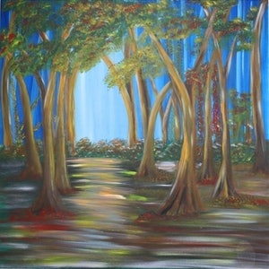(CreativeWork) Autumn Forest by Donella Brown. arcylic-painting. Shop online at Bluethumb.