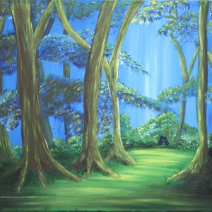 (CreativeWork) Sunlit Forest by Donella Brown. arcylic-painting. Shop online at Bluethumb.