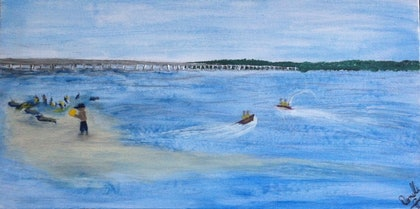 (CreativeWork) Bribie by Donella Brown. arcylic-painting. Shop online at Bluethumb.