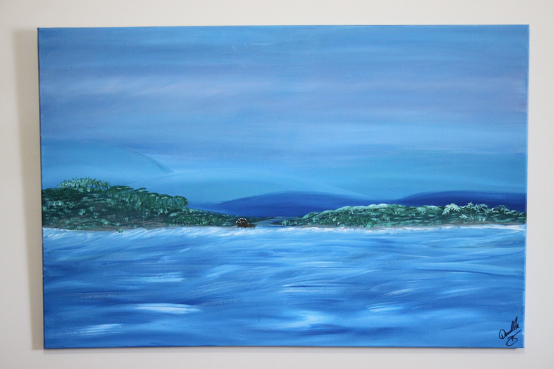 (CreativeWork) Seaside Villa by Donella Brown. arcylic-painting. Shop online at Bluethumb.