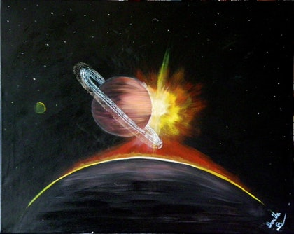 (CreativeWork) Sunrise at Saturn by Donella Brown. arcylic-painting. Shop online at Bluethumb.