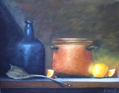 (CreativeWork) Kitchen Life by Donella Brown. oil-painting. Shop online at Bluethumb.
