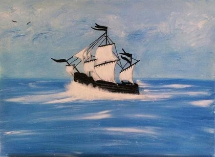 (CreativeWork) Sailing into the Blue by Donella Brown. mixed-media. Shop online at Bluethumb.