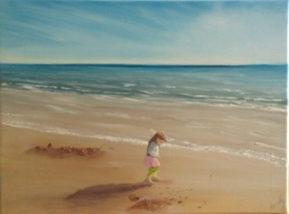 (CreativeWork) Girl on a Beach by Donella Brown. oil-painting. Shop online at Bluethumb.