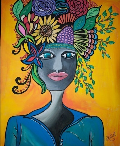 (CreativeWork) Ethnic Woman by Heidi Ward. arcylic-painting. Shop online at Bluethumb.