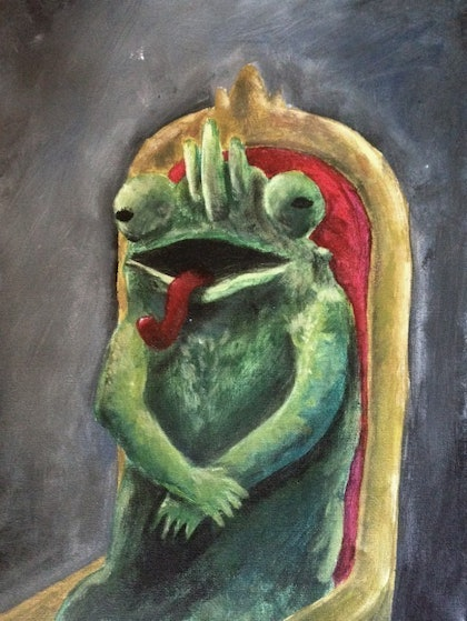 (CreativeWork) Chameleon Prince by Andrew Onorato. arcylic-painting. Shop online at Bluethumb.