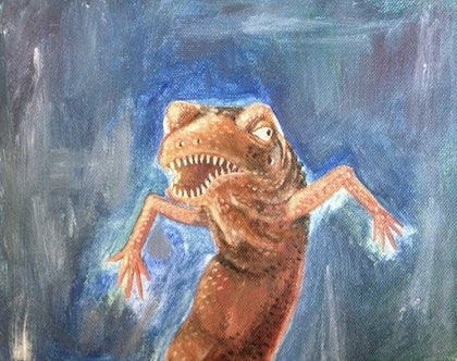 (CreativeWork) Brown Lizard by Andrew Onorato. arcylic-painting. Shop online at Bluethumb.
