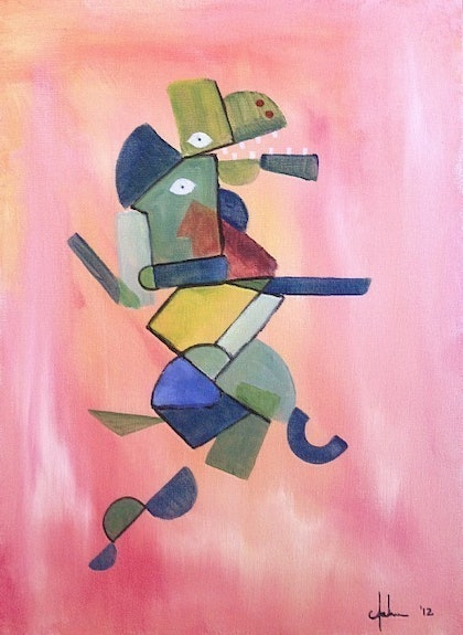 (CreativeWork) Lizard in Pieces by Andrew Onorato. arcylic-painting. Shop online at Bluethumb.