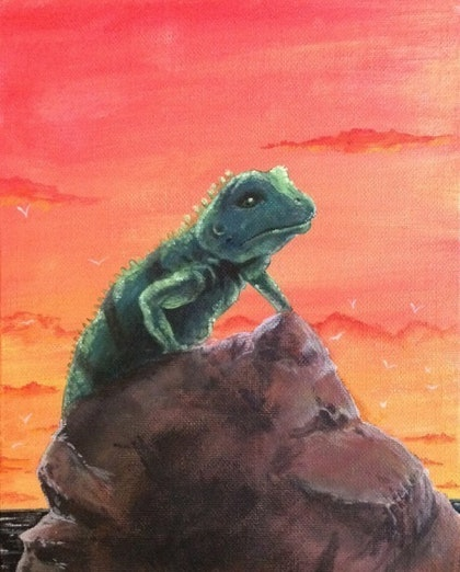(CreativeWork) Sunset Lizard on Rock by Andrew Onorato. arcylic-painting. Shop online at Bluethumb.