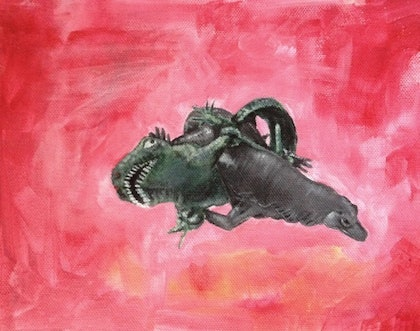 (CreativeWork) Lizard Knot by Andrew Onorato. arcylic-painting. Shop online at Bluethumb.
