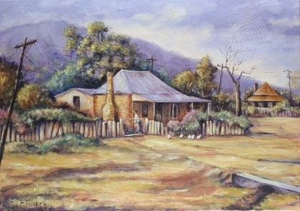 (CreativeWork) Country Homestead by Pam Riches. oil-painting. Shop online at Bluethumb.