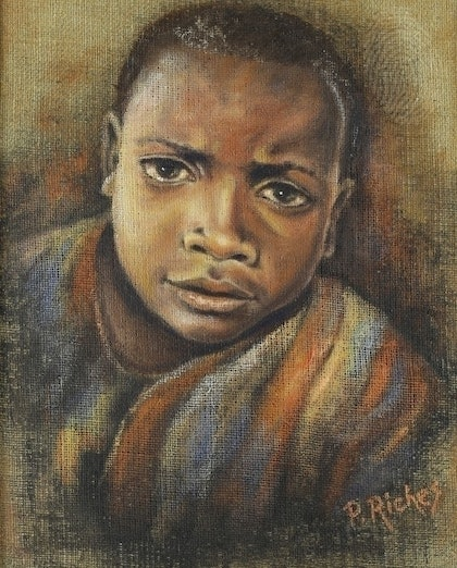 (CreativeWork) Poverty Is by Pam Riches. oil-painting. Shop online at Bluethumb.