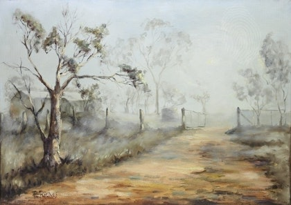 (CreativeWork) Misty Morning by Pam Riches. oil-painting. Shop online at Bluethumb.