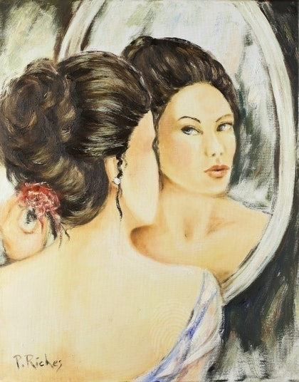 (CreativeWork) As the Mirror Sees it by Pam Riches. oil-painting. Shop online at Bluethumb.