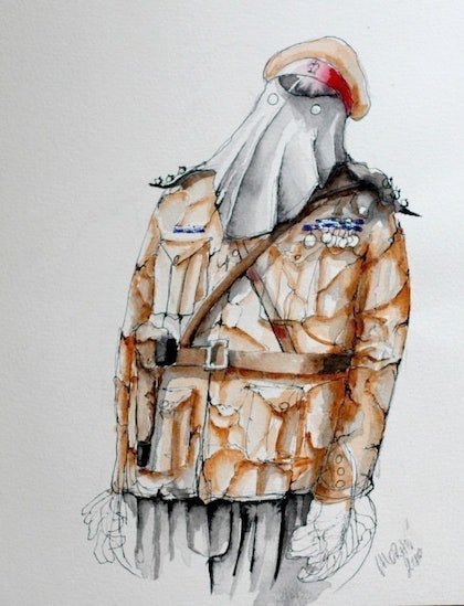 """(CreativeWork) The Officer & Gentlemen"""" series. Unknown Soldier by John Moran. drawing. Shop online at Bluethumb."""
