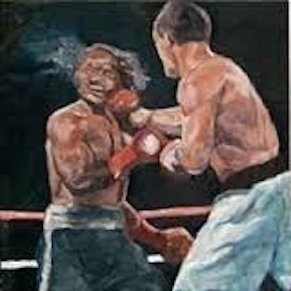 (CreativeWork) The Fight by Troy Quinliven. oil-painting. Shop online at Bluethumb.