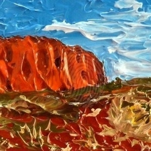 (CreativeWork) Ayers Rock' Uluru by Cathy Gilday. arcylic-painting. Shop online at Bluethumb.